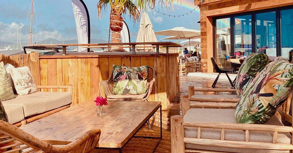 The terrace of a restaurant with vegetarian options in Ibiza